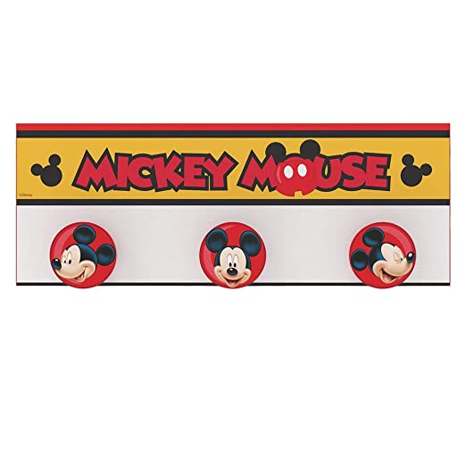 Stor - Perchero Infantil   MICKEY MOUSE STRIPES - Disney - Dimensiones: 40 x 15 cm. - Varios Modelos