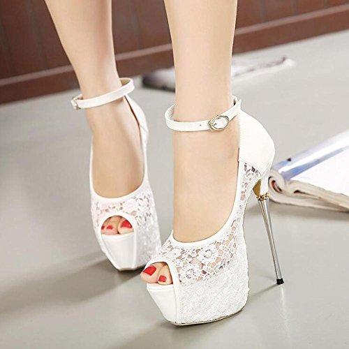 L Lounges Sandals Heels Super High Fibers Metal amp; Satin Lace YC Fishtail White Women r70pnCr
