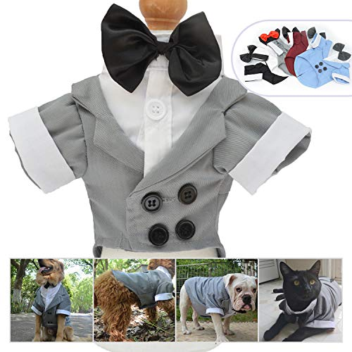 Lovelonglong Pet Costume Dog Suit Formal Tuxedo with Black Bow Tie for Small Dog Yorkshire Terrier Clothing Gray S