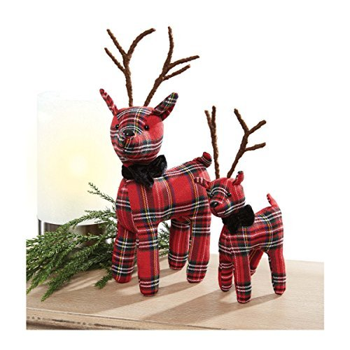 C.R Gibson Fabric Reindeer Set - Rustic Holiday