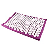 Homyl Spiky Acupressure Reflexology Mat Neck Body Muscle Stress Meditation Yoga Massager Mat 66x40cm/25.7x15.6 inch - Purple