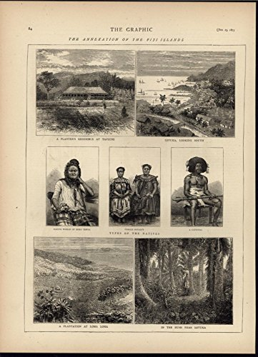 Annexation Fiji Cannibal Female Royalty Plantation 1875 antique engraved print