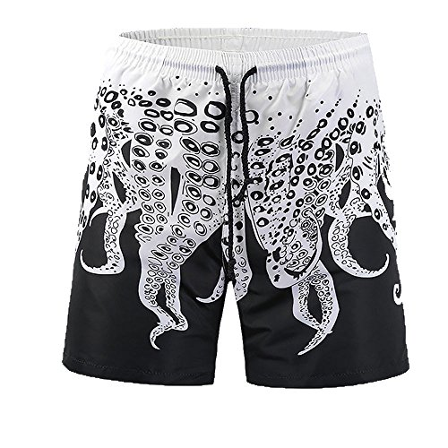 Mens Swim Trunks Beach Creative Ocean Octopus Print Beachwear for Swimming Walking (L, Black)