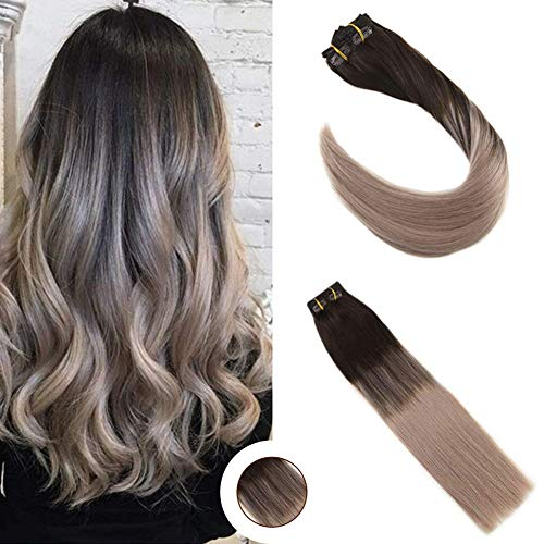 Ugeat 22 Inch Dip-Dye Color Clip in Hair Extension 10PCS 120g Balayage Color Darkest Brown to Color Ash Blonde Clip on Hair Extensions Remy Human Hair