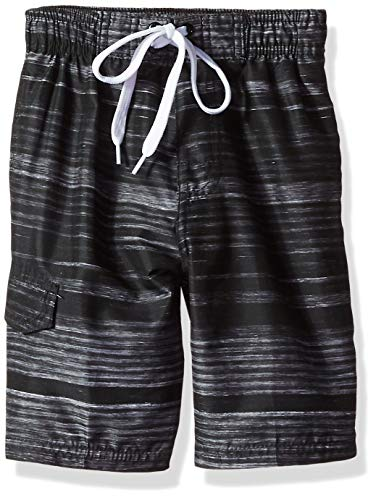 (Kanu Surf Little Boys' Jetstream Quick Dry Beach Swim Trunk, Black, Large (7))
