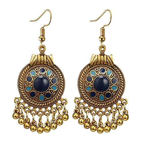 Ethnic Brocade Gypsy Engraved Flower Tassel Bells Hook Earrings Long Hollow Dangle Earrings for Women and Girls (Round(Blue Gold))