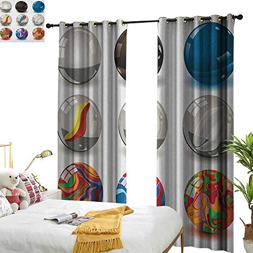 longbuyer Pearls Decor Curtains by Collection of Different Marbles with Glass and Porcelain Materials Like Bubbles Artwork W84 x L96,Suitable for Bedroom Living Room Study, etc.
