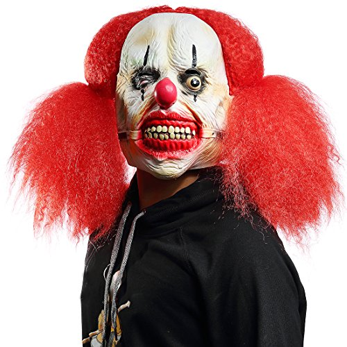 Mo Fang Gong She Halloween Fearsome Costume Party Props,Long Hair Devil Mask(Red haired Clown -