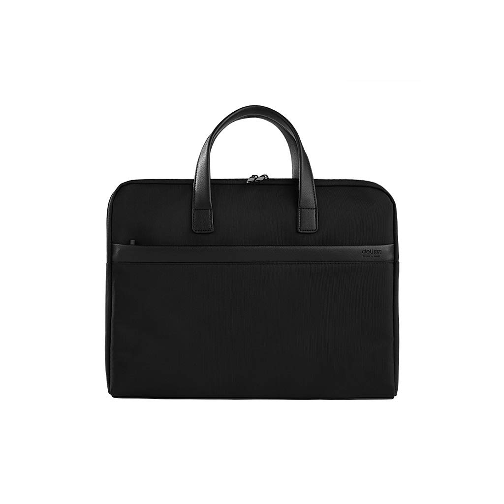 Briefcase Men's File Bag Canvas Handbag Waterproof and Thickened Zipper File Bag 38×29cm (Color : Black, Size : 38×29cm) by QSJY File Cabinets