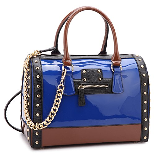 Dasein Shiny Patent Faux Leather Mini Barrel Body Satchel Handbag Shoulder Bag Large Blue
