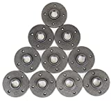 """TSP Floor Flange Industrial Pipe 1/2-Inch Iron Flanges-1/2 DIY Furniture Decor 10 Pack Malleable Threaded Plumber Fitting-Perfect for Vintage Steampunk Lamps Shelving Plumbing, 1/2"""", Black, Count"""
