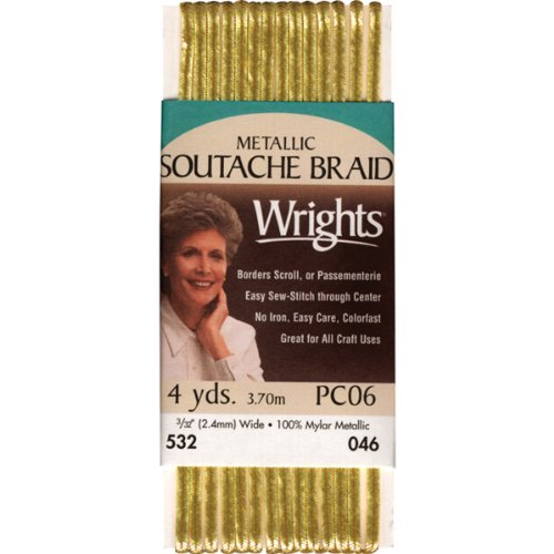 (Wrights 117-532-046 Metallic Soutache Braid Trim, Gold, 4-Yard)