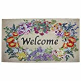J & M Home Fashions Floral Welcome Crumb Rubber Printed Flocked Doormat, 18-Inch by 30-Inch