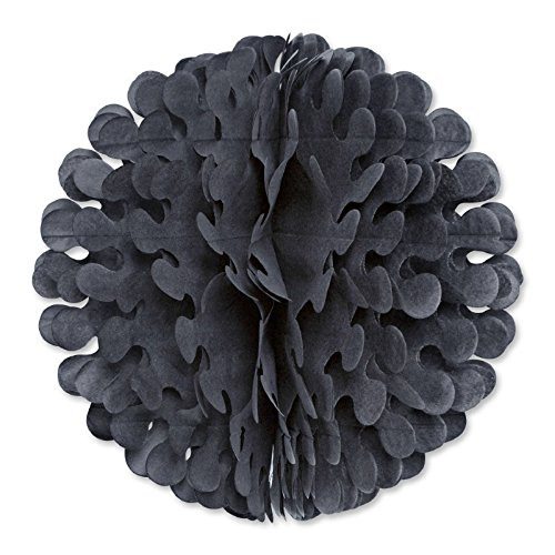 Party Central Club Pack of 12 Black Tissue Flutter Ball Hanging Decorations 19