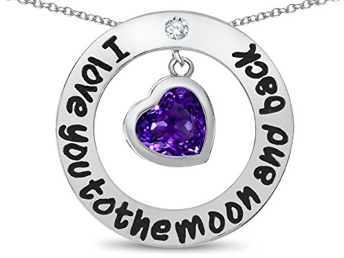 Star K I Love You To the Moon and Back Simulated Amethyst 8mm Heart Circle Pendant Necklace (The Ultimate Measure Of A Man Quote Meaning)