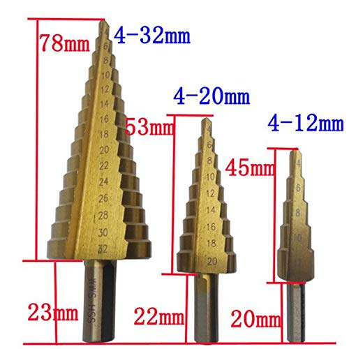 - Drill Bits - 4 12mm 20mm 32mm 3pcs Hss Steel Titanium Step Drill Bit Cone Cut Woodworking Wood Metal Set - Sided File Tool Jobber Canister Sharpener Drivers Paddle Lenth Change Pack Wood Large