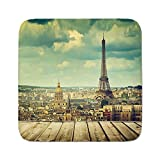 designing a deck Cozy Seat Protector Pads Cushion Area Rug,Eiffel Tower,Paris Cityscape with Eiffel Tower View from a Wooden Deck Table Urban Life Classic,Teal,Easy to Use on Any Surface