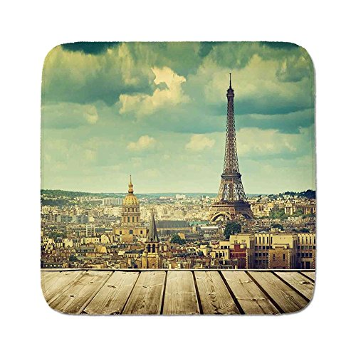 Cozy Seat Protector Pads Cushion Area Rug,Eiffel Tower,Paris Cityscape with Eiffel Tower View from a Wooden Deck Table Urban Life Classic,Teal,Easy to Use on Any Surface