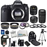Canon EOS 60D DSLR Camera Bundle Kit with 3 Canon lenses featuring Canon EF-S 18-55mm f/3.5-5.6 IS II + Canon Normal EF 50mm f/1.8 II + Canon Zoom Telephoto EF 75-300mm f/4.0-5.6 III Autofocus Lens, Also Includes: 0.43x Wide Angle Lens & 2.2x Telephoto Lens, 3 Piece Filter Kit & 4 Piece Macro Lens Kit, Extra LE-E6 Replacement Battery & Travel Charger, 32GB SDHC Memory Card & Reader, Deluxe Backpack, Bounce and Swivel Zoom Flash and Much More