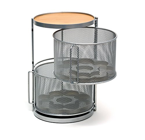 Lipper International 8728 Two-Tier Round Kitchen and Cooking Spice Tower, Silver/Gray