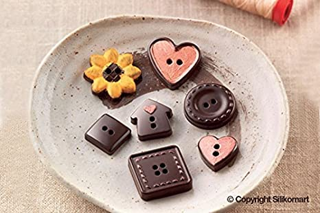 SCG29 Molde de Silicona para Chocolate, 15 cavidades con Forma de Botones, Color marrón: Amazon.es: Hogar