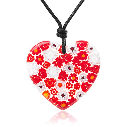 "(Chuvora Millefiori Murano Glass Red & White Flowers Heart Big Pendant 40 mm Adjustable Necklace 15""-30"")"