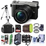 Panasonic Lumix DC-GX9 20.3MP Mirrorless Micro 4/3rd Digital Camera with 12-60mm F3.5-5.6 Lens, Silver - Bundle with Camera Bag, 64GB SDXC Card, Spare Battery, Tripod, Charger, Software Pack, and More