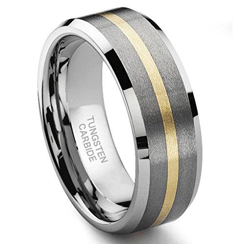 8MM Satin Finish Tungsten Carbide 14K Gold Inlay Wedding Band Ring Sz 11.0
