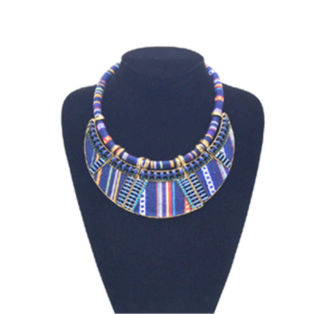 FIANDHJS Women Choker Maxi Necklace Rope Chain Boho Collar Tribal Ethnic Vintage Navy Blue Big Necklace /& Pendants Jewelry