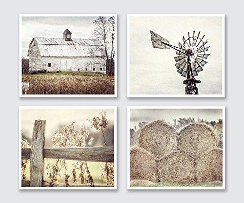 Barnes Signed (Farmhouse Decor Wall Art Set of 4 5x7