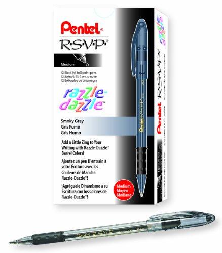 Pentel R.S.V.P. Razzle-Dazzle Ballpoint Pen, Medium Line, Black Barrel, Black Ink, Box of 12 (BK91RDA-A)
