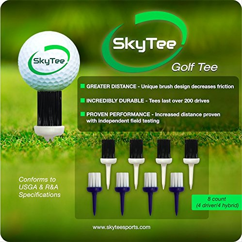 SkyTee Brush Golf Tee - Increased Distance and Consistent Height with Less Friction - 8 Pack (4 Driver/4 Hybrid)