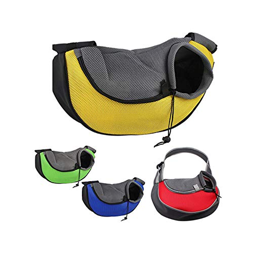 (dunical Pet Dog Cat Puppy Zipper Travel Tote Shoulder Bag Sling Backpack Pet Carrier,Yellow,L)
