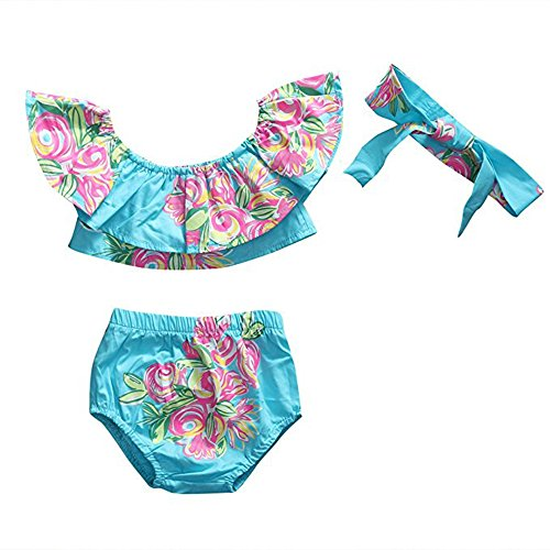 3pcs Infant Baby Girl Sky Blue Floral Off Shoulder Lotus Leaf Collar Bikini Suit Set (12-24M(Tag90), Sky Blue)