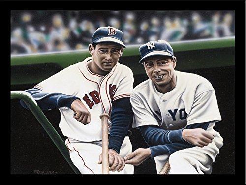 - FRAMED Ted Williams and Joe DiMaggio by Darryl Vlasak 32x24 Art Print Poster Memorabilia Baseball Legends Boston Red Sox New York Yankees