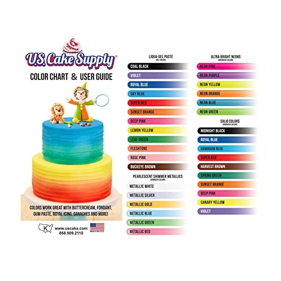 U.S. Cake Supply - Complete Cake Decorating Airbrush Kit with a Full Selection of 12 Vivid Airbrush Food Colors - Decorate Cakes, Cupcakes, Cookies & Desserts 9 CONTAINS EVERYTHING YOU NEED: Our kit contains everything you need to start creating edible masterpieces using your own personal touch! Kit includes a professional precision airbrush, air compressor with 3 air flow settings, 12 eye-catching vibrant U.S. Cake Supply airbrush food colors, detailed user guide manual with airbrushing tips and design techniques. TO BE USED AND ENJOYED BY EVERYONE: It can be enjoyed by everyone from kids to adults and beginners to experts! Simply add a few drops of color to your airbrush, power up the compressor, pull the trigger and go! It's just that easy to start your own customized creations! AIRBRUSHING IS THE PERFECT BLEND OF CAKE AND ART: Unleash your imagination to create your own amazing designs on dozens of colorful cakes, cupcakes, cookies and desserts. Blend and shade colors, write script and add accents, use stencils to add detail, color fondant and other elements, plus so much more!