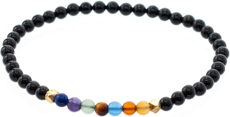 """Chakra Stretch Bracelet with Smooth 4mm Black Onyx Beads, 7.5"""""""