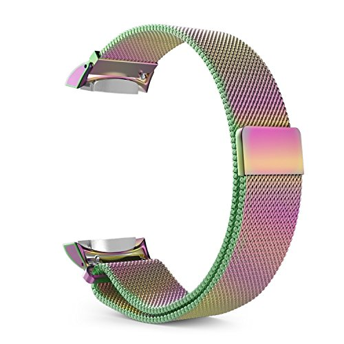 Gear S2 Watch Band [Large], Fintie [Magnet Lock] Milanese Loop Adjustable Stainless Steel Replacement Strap Bands for Samsung Gear S2 SM-R720 / SM-R730 Smart Watch - Rainbow