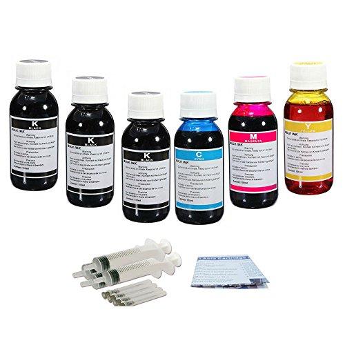 J2INK 6x100ml Jumbo Cartridge Inkjet Refill Kit for HP 61 HP 61XL HP 62 HP 62XL HP 63 HP 63XL Ink Cartridge ()