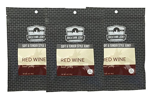 Red Wine Soft and Tender Style Best Beef Jerky - 3 PACK - Try Our Best Tasting Soft Beef Jerky - 9 total oz. (Red Station Brick)
