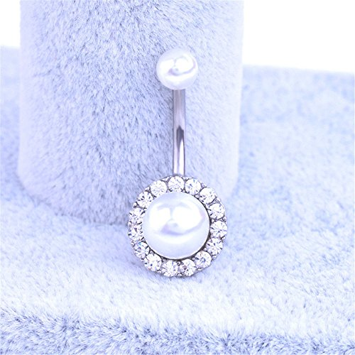 ERAWAN Rhinestone Pearl Navel Rings Belly Button Bar Ring Dangle Body Piercing Jewelry EW sakcharn (Silver)