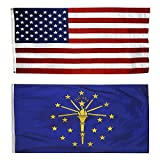 US Flag with Indiana State Flag 3 x 5 - 100% American Made - Nylon