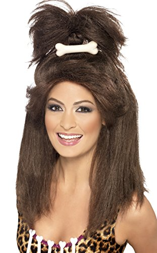 Smiffy's Women's Crazy Cavewoman Brown Wig with High Ponytail and Bone, One Size, (Cavegirl Wig)