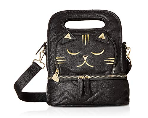 Betsey Johnson Women's Chevron Quilt Kitsch Lunch Tote Black One Size (Betsey Johnson Totes Black)