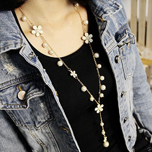Fashion Women Pearl Flower Sweater Chain Long Pendant Necklace New Jewelry, -