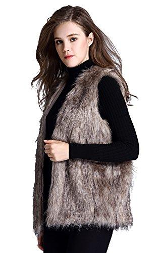 Escalier Women Faux Fur Vest Waistcoat Sleeveless Jacket