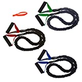 3 FIT CORD Covered Resistance Bands with PADDED HANDLES, NYLON SAFETY SLEEVE & PREMIUM LATEX EXERCISE TUBE ** 1 LIGHT, 1 MEDIUM & 1 HEAVY RESISTANCE & DOOR ANCHOR **