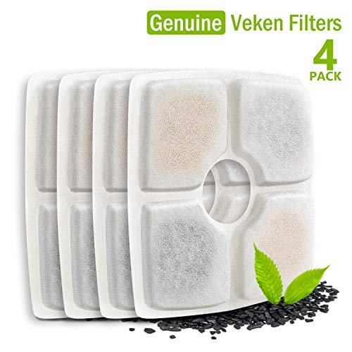 Veken Replacement Filters for 84oz/2.5L Automatic Pet Fountain Cat Water Fountain Dog Water Dispenser, Pack of 4