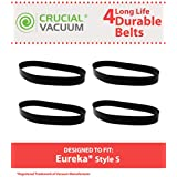 4 Style S belts for Eureka AS1100 Series Upright Vacuums; Compare to Eureka Part No. 84756; Designed & Engineered by Think Crucial