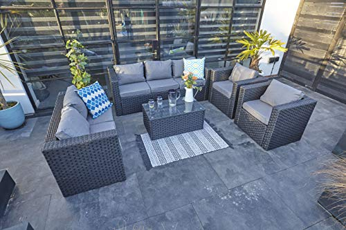 YAKOE Vancouver Rattan 7 Seater Patio Sofa Set
